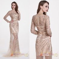 Wholesale Long Sleeve Body Tulle - Real Photo Champagne Evening Dresses 2017 Long Sleeves Prom Gowns Gorgeoues Crystal Beading Formal Dress With Illusion Skirt Body