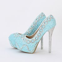 ingrosso abiti banchetti blu-Scarpe da sposa comode Blue Pearl Wedding Shoes Handmade Banquet Prom Platforms Scarpe da donna formale Scarpe Green Green