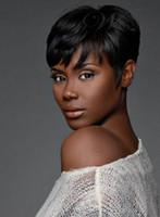 pelucas de las mujeres negras al por mayor-Pelucas de pelucas de las mujeres del cortocircuito del color negro de la nueva manera del pelo humano del 100% Peluca llena