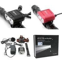 bisiklet ışık lümenleri toptan satış-Uniquefire Bisiklet Işık 5000-Lumens 3-Mode Bisiklet Işık Far Başkanı Lambası ve 8.4 v 8800 mAh su geçirmez Pil Paketi Şarj