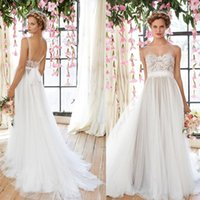 Wholesale Wedding Skirts Flowing - Vintage Flowing Wedding Dresses 2016 Sheer Illusion Neckline Lace Bodice Tulle Skirt Bridal Gowns Low Back Bohemia Bride Dresses GD-286