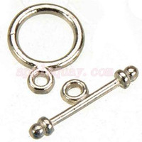 Wholesale small metal hooks - 200pcs new diy fashion craft accessories metal OT vintage silver round small toggles hooks jewelry clasps for bracelets 13*10mm