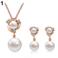 Wholesale Wholesale Faux Pearl Necklace Set - 2015 New Women's Classical Handmade Faux Pearls Crystal Choker Bib Collar Necklace & Pendant Jewelry Set