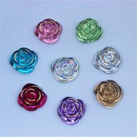 Wholesale Flat Back Flower Beads - 200PCS 15mm Flat Back Round Resin Rhinestones Crystal Beads Decoration ZZ110