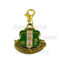 Wholesale S Hook Necklace - Fashion Jewelry s AKA Sorority Crest Charm With Small Lobster Hook lanyard crest 3d charm female