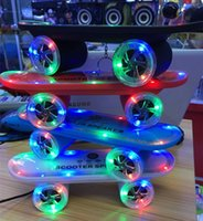 Wholesale Kick Scooter Wholesale - 20PCS Christmas Gift LED Flash Kick scooters bluetooth speakers wireless Subwoofer Stereo Portable Skateboard speaker for Table pc phone