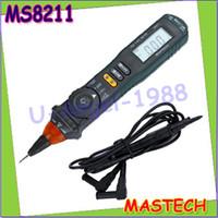 Wholesale Pen Type Digital Multimeter - Wholesale-1pcs Professional Mastech MS8211 Pen-type Digital Multimeter Non-contact AC Voltage Detector Auto-ranging Test Clip wholesale