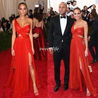 vestido de fiesta un lado al por mayor-2019 atractivo de la celebridad del vestido A-Line lateral de un hombro gasa de Split Opacidad Sheer Red Carpet Party baile vestidos largos de los vestidos de noche