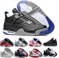 Wholesale Ocean Games - 2017 Cheap Sale Air Retro 4 IV Basketball Shoes Sports Sneakers Men Retros 4s Zapatillas Authentic BLACK MOTORSPORT GAME ROYAL BLUE shoes