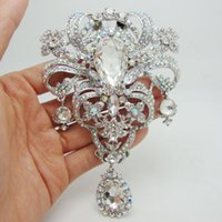 Wholesale Bridesmaid Gifts Bride - Wholesale - Luxury Bride Flower Drop Pendant Bride Bridesmaid Wedding Brooch Pin Clear AB Rhinestone Crystal