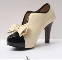 Wholesale Sexy Beige Platform Heels - Sexy Women Pumps Platform Women Chunky High Heel Office Dress Shoes Plus Size Beige Bowtie Pump 2015 HOT SELLING size:35-41