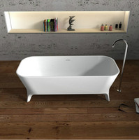 Wholesale 1800x800x600mm BECCO DESIGNER SOLID SURFACE BATHTUB STONE FINISH ARTIFICIAL STONE BATHTUB CE CUPC CERTIFICATE RECTANGULAR TUB