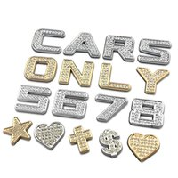 Wholesale Diamond Decorations Stickers - 1 Piece 30mm Gold Diamonds Crystal Letter Numbers Star Heartshap Metal Car Emblem Badge 3D Car Stickers Refitting Home Decorations 1594