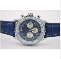 магазин часов оптовых-Высокое качество новый бренд автоматические мужские наручные часы NAVITIMER Ti3 синий циферблат синий часы кожа 1884 мода мужской роскошные часы бесплатные покупки