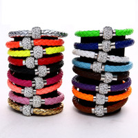 Wholesale Neon Crystal Bracelets - NEW PU Leather Crystal Ball Shamballa Magnetic Clasp Bracelet Cuff Fluorescence Neon Color Clasp Bracelet Bangle