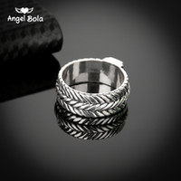 Wholesale Ancient Buddha - New Store Ancient Silver Buddha Ring Personality Wide Chain Knitting Ring Exagerrated Fashion Jewelry Free Shipping