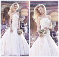 Wholesale Ellis Bridal Wedding Gown - Ellis 2015 Modest Lace Wedding Dresses Strapless Embroidery Backless Covered Button Floor Length Plus Size Mermaid Bridal Gowns