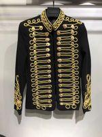 Wholesale Cashmere Overcoats Men - Men's Coats & Jackets Winter Cashmere Jacket Man Long Golden rope Golden buttons Overcoat Casual Woolen Coat