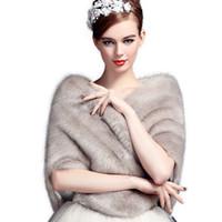 Wholesale Shoulder Shawl Party - Jane Vini Bridal Wedding Shawls and Wraps Winter Bolero Women Faux Fur Shoulder Capes Stoles for Wedding Party Dresses 2018 High Quality