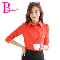 Wholesale Korean Office Blouses - Women Blouses New Arrival Fashion 2016 Autumn Korean Style Long Sleeve Sequin Chiffon Ladies Office Shirt White Blue Tops Formal