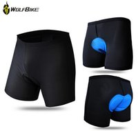 Wholesale Cycling Underwear Gel - Wholesale-Brand New Wolfbike Men Cycling Shorts Breathable Coolmax Gel Black Underpant Bicycle Bike Fitness Underwear 2 colors Size S-3XL