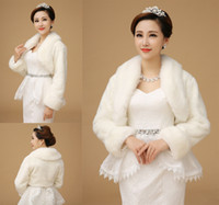 Wholesale Ivory Faux Fur Shawl - US Free Shipping Bride Jackets With Fur Neckline Long Sleeve Wedding Bolero Winter Bridal Wraps Ivory Only CX
