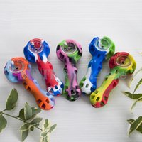 Wholesale Silicon Bowls - silicon hand pipe with glass bowl Hand Spoon Pipe Silicone Rig Smoking Pipes Hookah Bongs