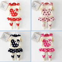 Wholesale Long Skirt Coats - Spring autumn girl hoodie+skirt pant set 2 pieces children long sleeve polka dots clothes suit 100% cotton