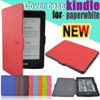 "Wholesale Kindle Paperwhite Pink - Kindle Paperwhite Case 6"" slim Magnet PU Leather For Amazon New KP Cover With Sleep and Wake Up Function free shipping"