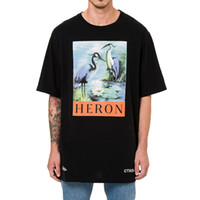 Wholesale Bird Printed Short Sleeve - White Black Jersey T-shirt Heron Bird Print Short Sleeve Tee Men Women Hi-Street Oversized Tees Skateboard Shirts LDG1201