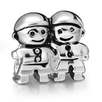 Wholesale Brother Love - Brothers Charm 925 Silver European Charms Bead Compatible With Pandora Snake Chain Bracelet Wholesale Jewelry