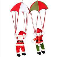 paracaidismo santa decoración al por mayor-2 piezas de decoración navideña de Papá Noel muñeco de nieve adornos paracaídas nuevo adorno de Navidad