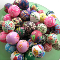 Wholesale Polymer Clay Necklace Charm - 180pcs Lot Free Shipping Good Quality Charms Assorted Colors 12mm Ball Round Polymer Clay Beads Bead necklace jewelry making DIY