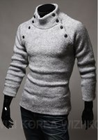 Wholesale Korean Men S Sweaters - Wholesale-20114 New Korean Style Fashion Mens Spread Collar Design Solid Turtleneck Long Sleeve Sweater 2colors Free Shipping [9901]