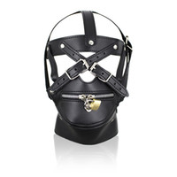 Wholesale Male Bondage Sex Masks - Leather Zipper Mouth Mask Gagged Head Bondage Hood Restraints Sex Products Game Bondage Neck Collar Mask Sex Toy For Male Female