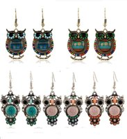 Wholesale Earring Fish - 2016 Bohemian Colorful Owl Crystal Rhinestones Allergy Free Fish Hooks Earrings Dangles Chandelier Jewelry Blue Red Hot sell Items