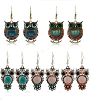 2016 Bohemian Colorido Coruja Crystal Rhinestones Allergy Free Fish Ganchos Brincos Dangles Chandelier Jóias Blue Red Hot Sell Items