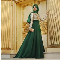 Wholesale Maternity Evening Prom Gowns - New Hot Arabic Green Muslim Dubai Kaftan Evening Dresses Hijab Lace Prom Gowns with Full Sleeves Floor Length Vestido De Festa d036