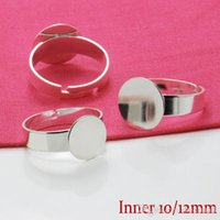 Wholesale Ring Blanks Glass - 50X Silver Plated Ring Setting Blank with 10 12mm Flat Pad for Glass Cabochons Domes Resin