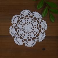 Wholesale Blue Doilies - Free Shipping 30Piece crochet doilies fabric table lace placemats coasters kitchen accessories Dial 14cm Custom Colors zj0010