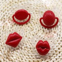 Wholesale Silicone Nipples - 2016 Funny Pacifiers For Babies Red Lips Silicone Nipples Children Baby Soothers Nibbler For Kids Pig Nose Pacifiers For Babies