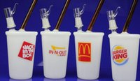 "Wholesale Burger King Glasses - newest McDonald's Mr. V ""McDonalds"" cup rig Mr. V ""Burger King"" Cup Rig In-n-out Cup Oil Rig glass bong dabuccino"