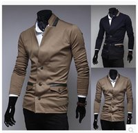 Wholesale Men Leather Sleeves Sweater - Mens Standing Collar Single Breasted Leather Stitching Sweater