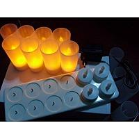 Wholesale Rechargeable Battery Candles - Free Shipping 12pcs Set Rechargeable Flameless LED Candle Light Flash Electronic LED Candle Light Battery Operated Tea Light Candle Lamp