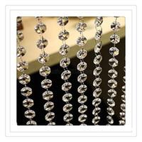 araña cristales decoración de la boda al por mayor-Decoración para el hogar Crystal Curtains Wedding Beads Cadena Transparente Octagonal Clear Acrylic Bead Garland Cadenas Wedding Chandelier Decoration