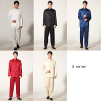 Wholesale Chinese Martial Arts - Free Shipping chinese traditional Tai chi uniform top long sleeve tang suit set Martial arts performance set Kung fu suit 5 color M0050