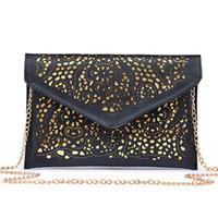 Wholesale Single Cut - 2017 Women's Clutch Handbags Envelope Hollow Out Messenger Bags Pu Leather Cut Out Lady Clutches Brands Females Shoulder Bags