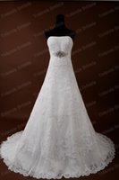 Wholesale Strapless Swarovski - 2015 lace A-line wedding dresses Strapless Romantic Lace Swarovski crystals Wedding Dresses with Wrap Bridal Gowns