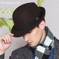 Wholesale mens fedoras online - vintage fedora hat black fedora hats for men  wool felt hat 701aac20af2