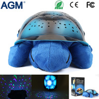 Wholesale Musical Toy Turtle Star - AGM Pure Harmless Material Tortoise Stars Projector Night Light Musical Turtle Lamp For Baby Room Kid's Gift Toys Bedroom